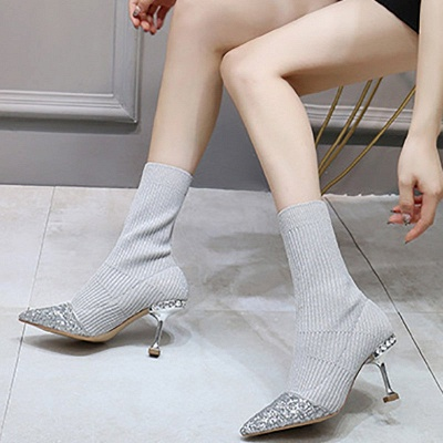 Daily Pointed Toe Cone Heel Knitted Fabric Elegant Boots_5