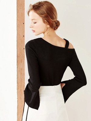 Bell Sleeve Paneled Solid Casual Sweater_5