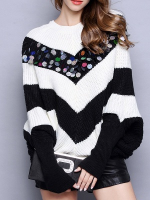 Black-white Long Sleeve Shift Cotton Sweater