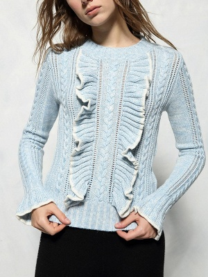 Casual Frill Sleeve Ruffled Wool Crew Neck Sweater