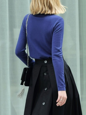 Turtleneck Long Sleeve Casual Knit Top_3