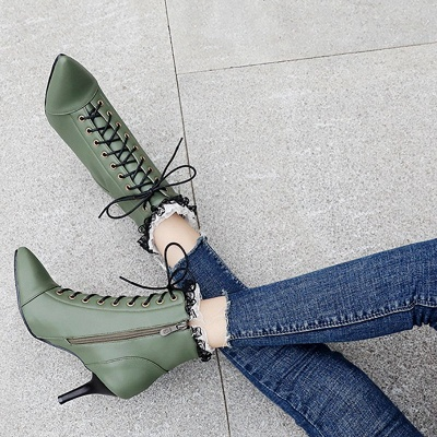 Date Fall Stiletto Heel Lace-up Pointed Toe Boots_6