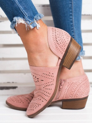 Hollow-out Low Heel Summer Faux Suede Boot_1