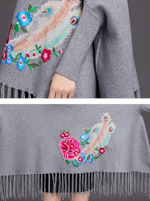 Batwing Elegant Floral Shift Sweaters_4