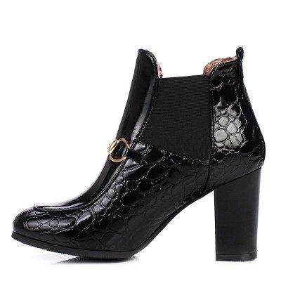 Daily Chunky Heel PU Round Toe Boot_3