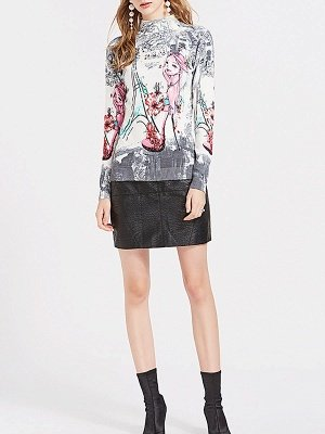 Gray Printed Graphic Long Sleeve Sweater_4