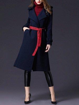 Dark blue Shift Long Sleeve Casual Pockets Paneled Coat_5