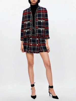 Red Crew Neck Beaded Casual Checkered/Plaid Pockets Coat_4