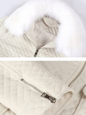 Long Sleeve Casual Paneled Shawl Collar Pockets Zipper Fluffy  Coat_7