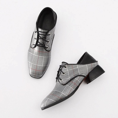 Checkered Lace-up Daily Square Toe Oxfords_9