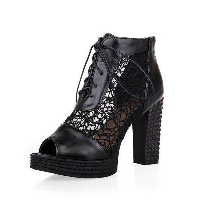 Chunky Heel Lace-up Peep Toe Elegant Boots_9
