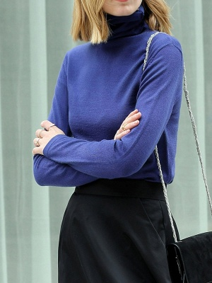 Turtleneck Long Sleeve Casual Knit Top_7