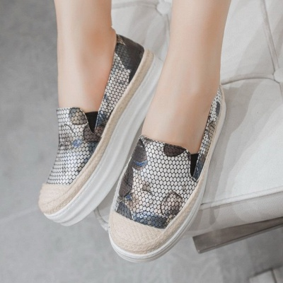 Floral Print Daily Round Toe Wedge Loafers_2