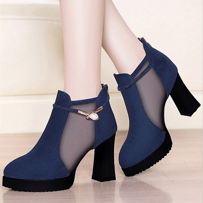 Daily Chunky Heel Buckle Pointed Toe Elegant Boots_1