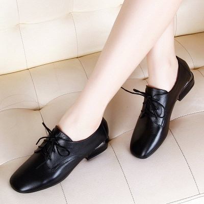 Chunky Heel Lace-up Pointed Toe Oxfords_3