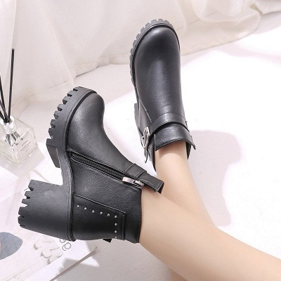 Zipper Daily Round Toe Buckle Chunky Heel Boots_6