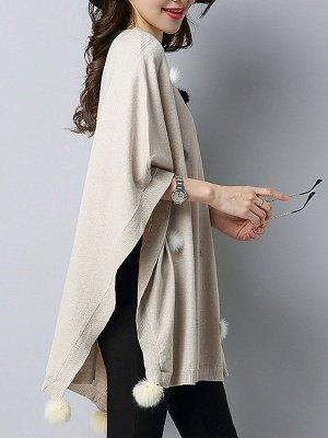 Wool Shift Casual Batwing Sweater_5