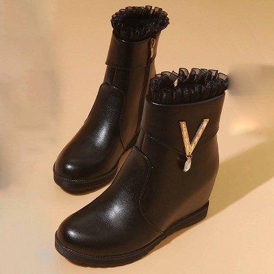 Rhinestone Round Toe Zipper Elegant Wedge Heel Boots_2