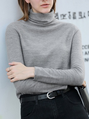 Casual Shift Long Sleeve Solid Turtleneck Sweater_6