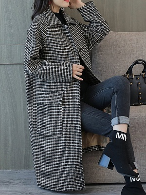 Black Houndstooth Casual Coat_7