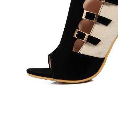 Suede Cone Heel Zipper Lace-up Peep Toe Boots_12