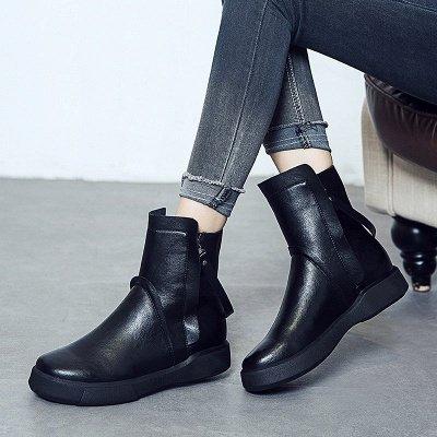Zipper Daily Round Toe Flat Heel Boots_5