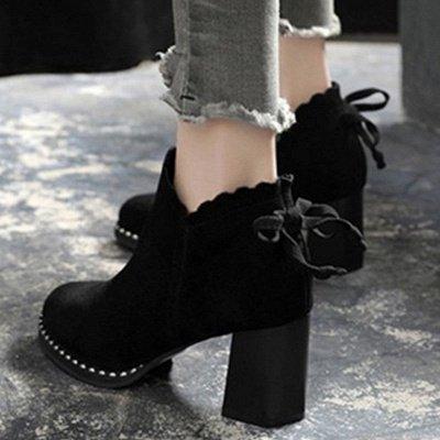 Suede Bowknot Zipper Boots_4