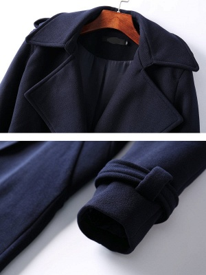 Dark blue Shift Long Sleeve Casual Pockets Paneled Coat_6