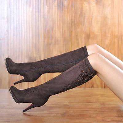Women's Boots Stiletto Heel Flower Pointed Toe Elegant Black Boots_8