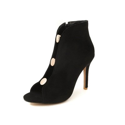 Ladies Hollow-out Peep Toe Zipper Boots_2