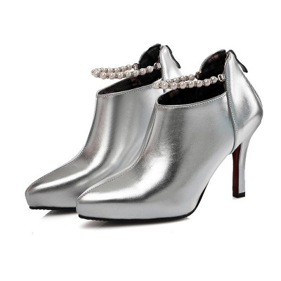 Silver Zipper Daily Elegant Stiletto Heel Pointed Toe Boots_4
