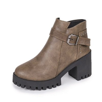 Zipper Daily Round Toe Buckle Chunky Heel Boots_9