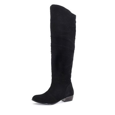 Chunky Heel Suede Fall Pointed Toe Boots_3