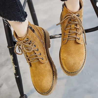 Leather Chunky Heel Lace-up Round Toe Boots_7