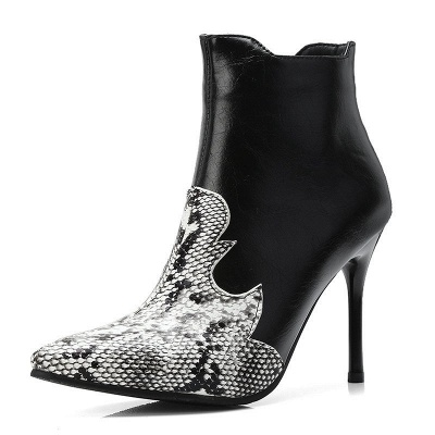 Daily PU Zipper Pointed Toe Elegant Boots_2