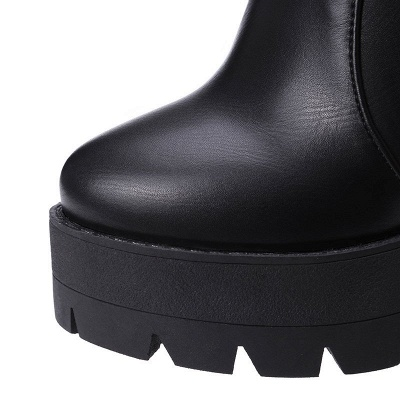 Daily Chunky Heel Zipper Round Toe Buckle Boots_19