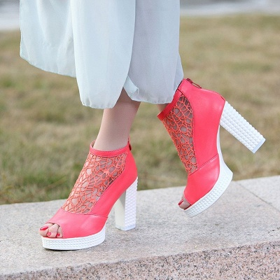 Hollow-out Daily Elegant Peep Toe Chunky Heel Boots_6