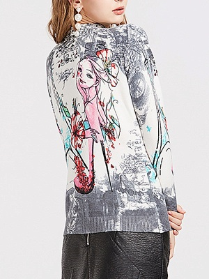 Gray Printed Graphic Long Sleeve Sweater_3