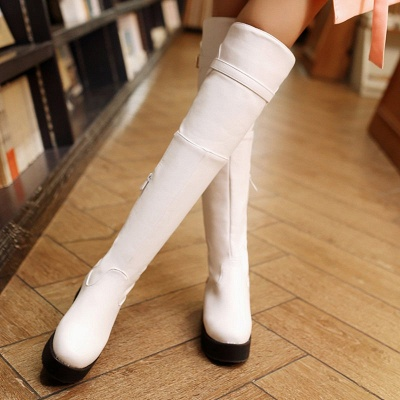 Women's Boots Wedge Heel Black Round Toe Boots_6
