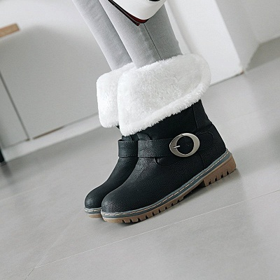 Women's Boots Round Toe Black Low Heel Boots_3