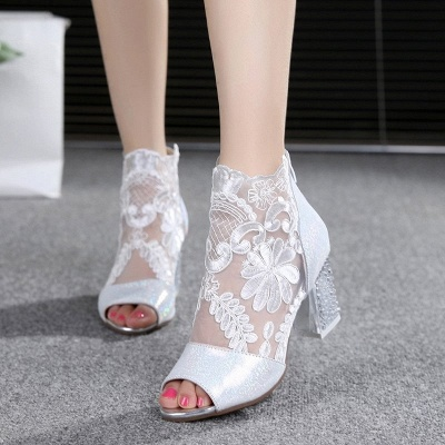 Romantic  Mesh Chunky Heels_1