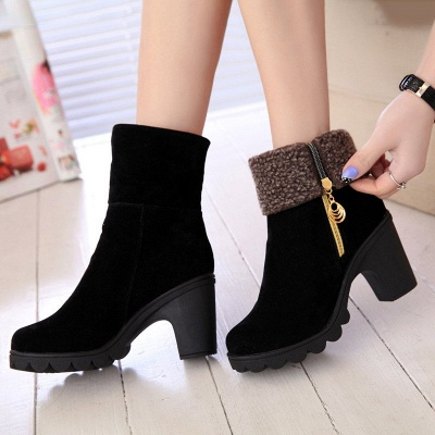 Chunky Heel Suede Fall Zipper Daily Round Toe Boot_5