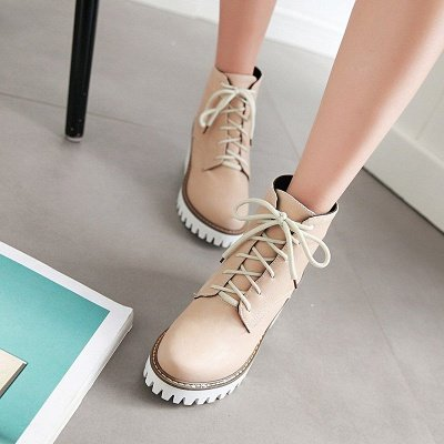 PU Lace-up Daily Round Toe Chunky Heel Boot_2