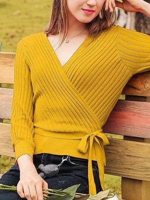 Casual Long Sleeve Shift V neck Sweater_3