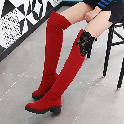 Blue Suede Daily Chunky Heel Pointed Toe Boot_1