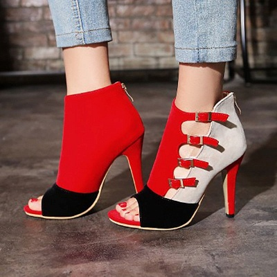 Suede Cone Heel Zipper Lace-up Peep Toe Boots_6