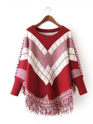 Shift Batwing Fringed Casual Sweater_1