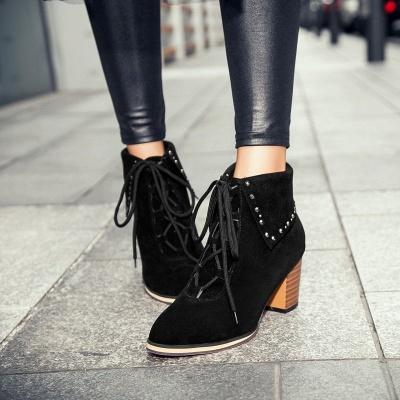 Chunky Heel Daily Rhinestone Pointed Toe Boots_4