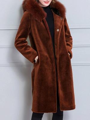 Long Sleeve Pockets Hoodie Shift Casual Fluffy  Coat_2