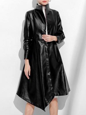 Leather Work Bow Long Sleeve Asymmetrical Coat_2